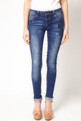 Asos Asos Skinny Jean with Distressed Vintage Finish