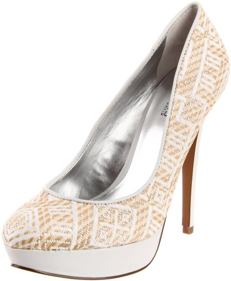 Charles By Charles David  Pure Platform Pump in Beige (white raffia) - Lyst