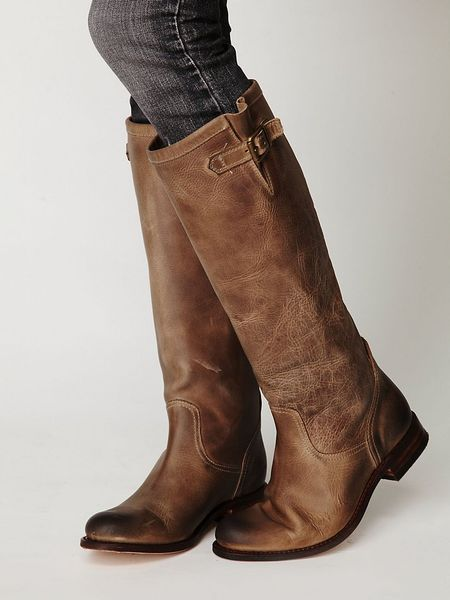 Tall Taupe Leather Boots Tall Boot in Brown Taupe