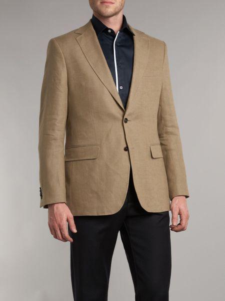 Gant Linen Blazer In Brown For Men Beige Lyst