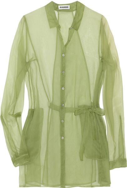 Jil Sander Athene Silk Organza Shirt in Green