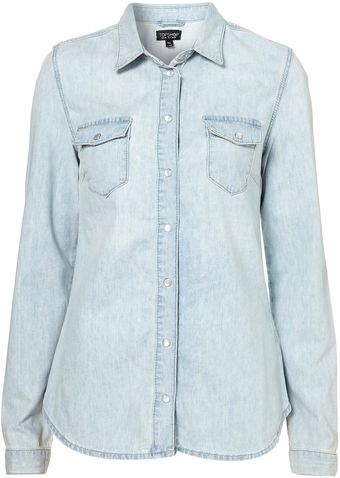 Moto Fitted Denim Shirt - Lyst
