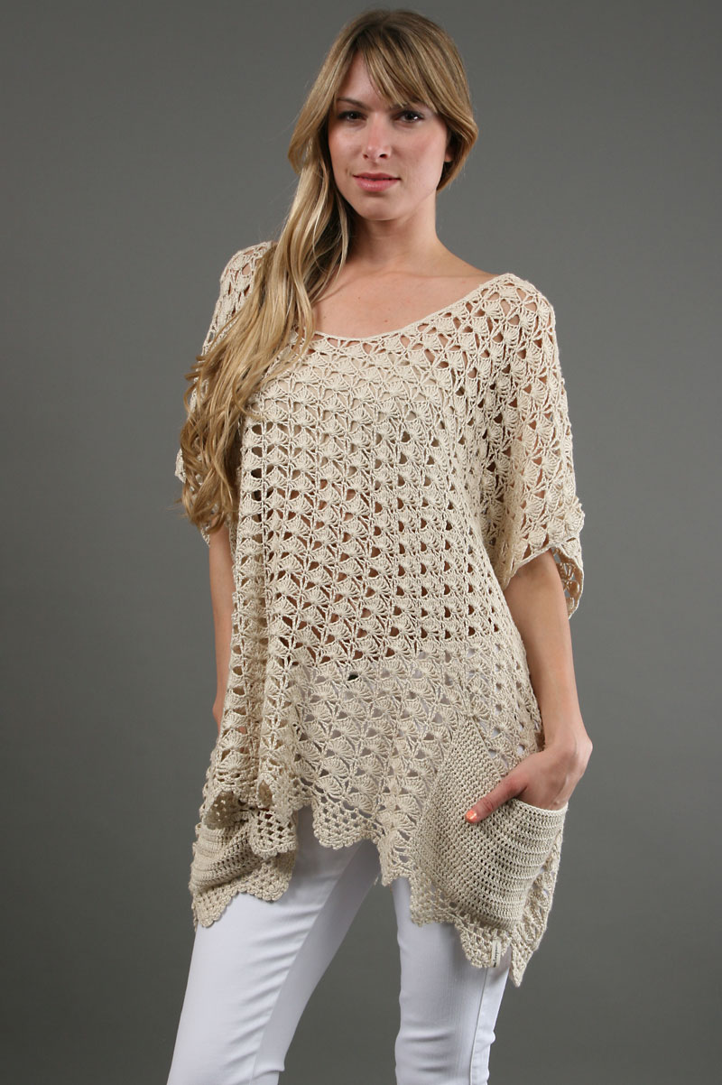 Free Crochet Tunic Pattern For Beginners : One teaspoon Canyon Crochet Poncho in Natural in Beige ...