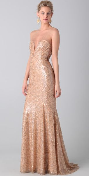 Reem Acra Tulle and Sequin Gown - Lyst