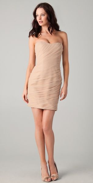 Reem Acra Diagonal Tulle Mini Dress in Beige (nude) - Lyst