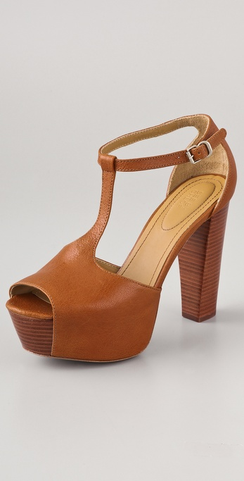 7983e0c1cd7087 Lyst - See By Chloé T Strap Platform Sandals in Brown