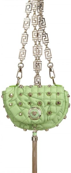 Versace Baroque Studded Nappa Shoulder Bag - Lyst
