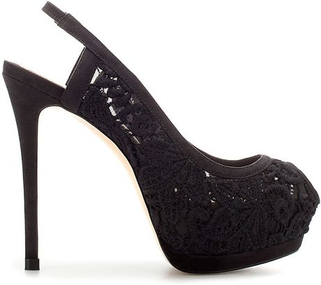 Zara Lace Slingbacks in Black - Lyst
