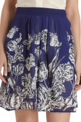 10 Crosby by Derek Lam Pleated Floral Skirt - Lyst