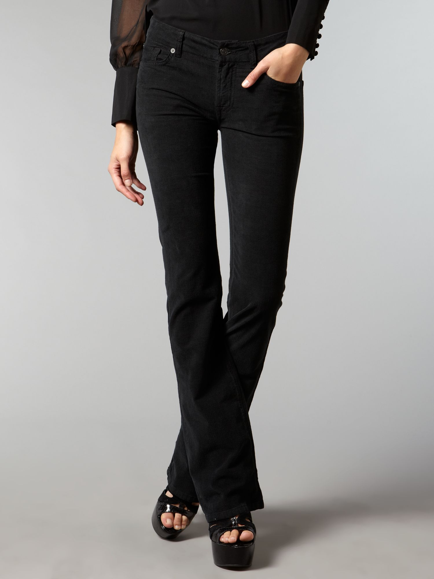 7 for all mankind kimmie boot cut black cord in black lyst. Black Bedroom Furniture Sets. Home Design Ideas