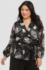 Alex Evenings Tie Waist Print Blouse - Lyst