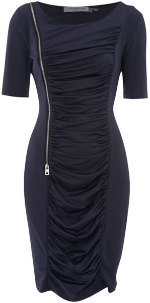 Andrew Marc Short Sleeve Centre Ruched Zip Dress in Blue (navy) - Lyst