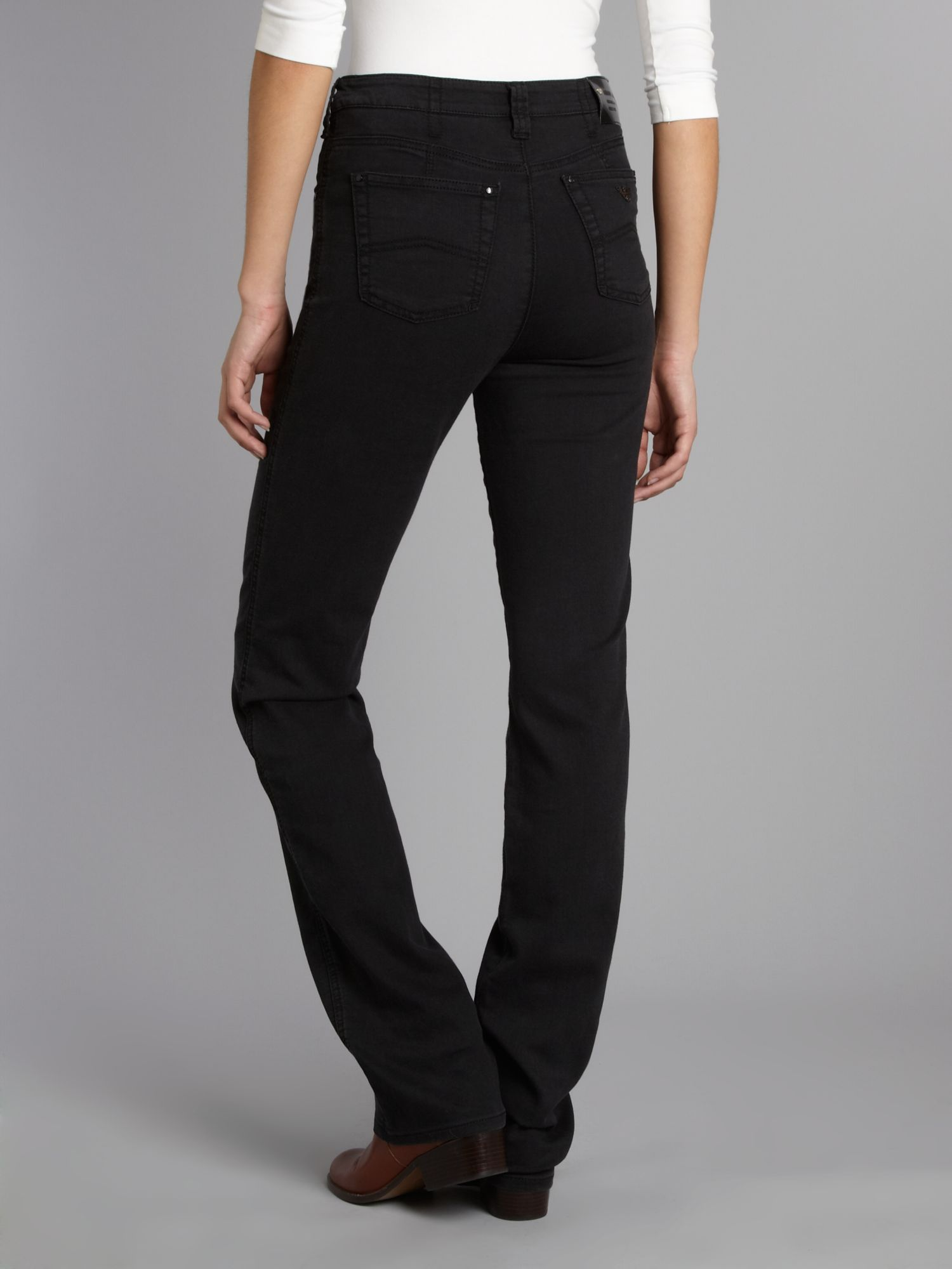 Lyst - Armani Jeans High Waisted Powerstretch Straight Leg Jeans in Black