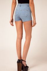 Asos Collection Asos High Waisted Denim Shorts in Bleach Wash in Blue (bleach) - Lyst
