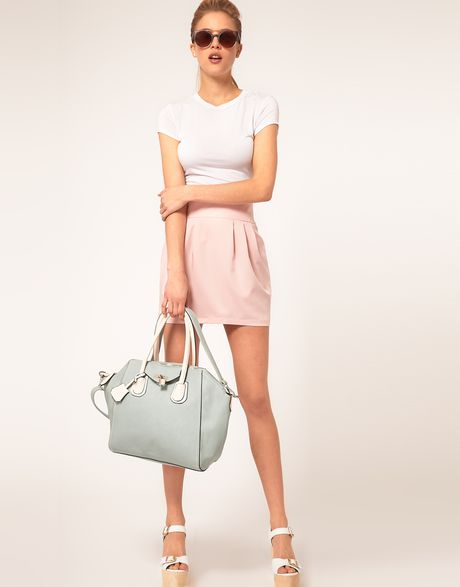 Asos Collection Asos Bell Mini Skirt in Pink (pastelpink) - Lyst