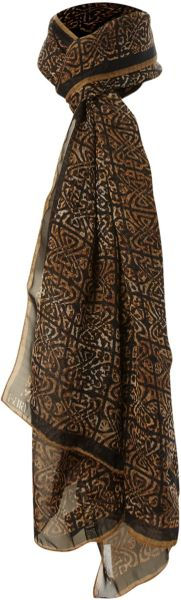 Biba Long Logo Leopard Print Scarf in Brown (black) - Lyst