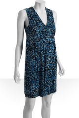 Calvin Klein Print Jersey Vneck Pocket Dress in Blue - Lyst