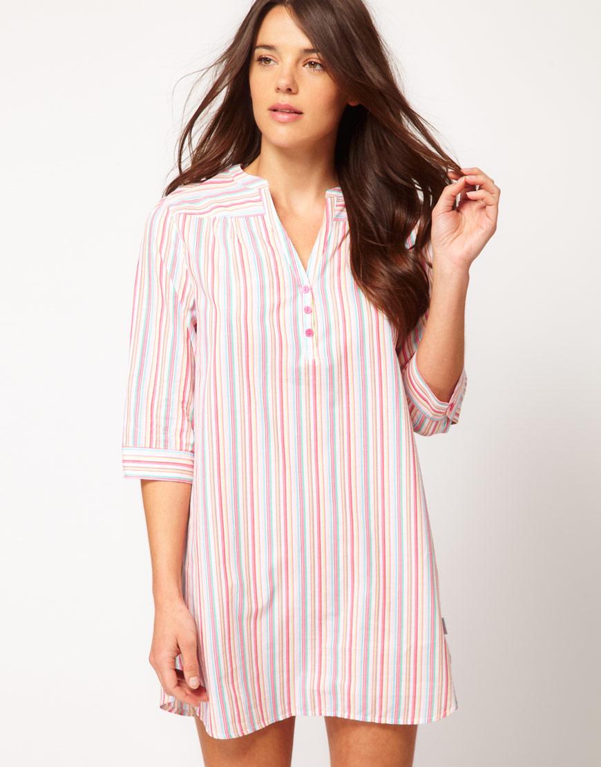cdbced8263 Lyst - Calvin Klein Calvin Klein Cotton Sleep Shirt with Stripe in Pink