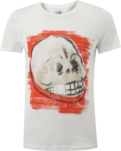 Cheap Monday Painted Effect Skull Print Tshirt in White for Men - Lyst