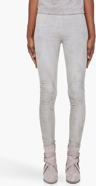 Damir Doma Grey Suede Leggings - Lyst