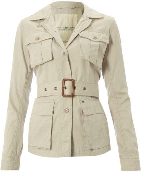 Denim Amp Supply Ralph Lauren Safari Style Jacket In Beige