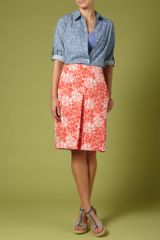 Dickins & Jones Ladies Printed Cotton Satine Skirt in Pink (coral) - Lyst