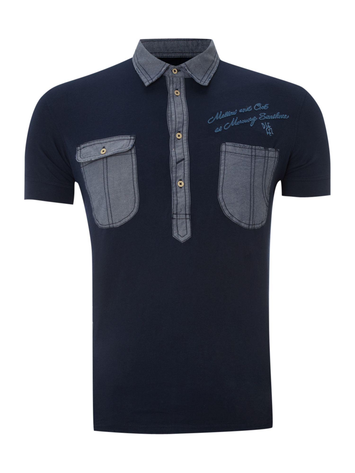 Diesel two pocket polo shirt in blue for men lyst for Two pocket polo shirt