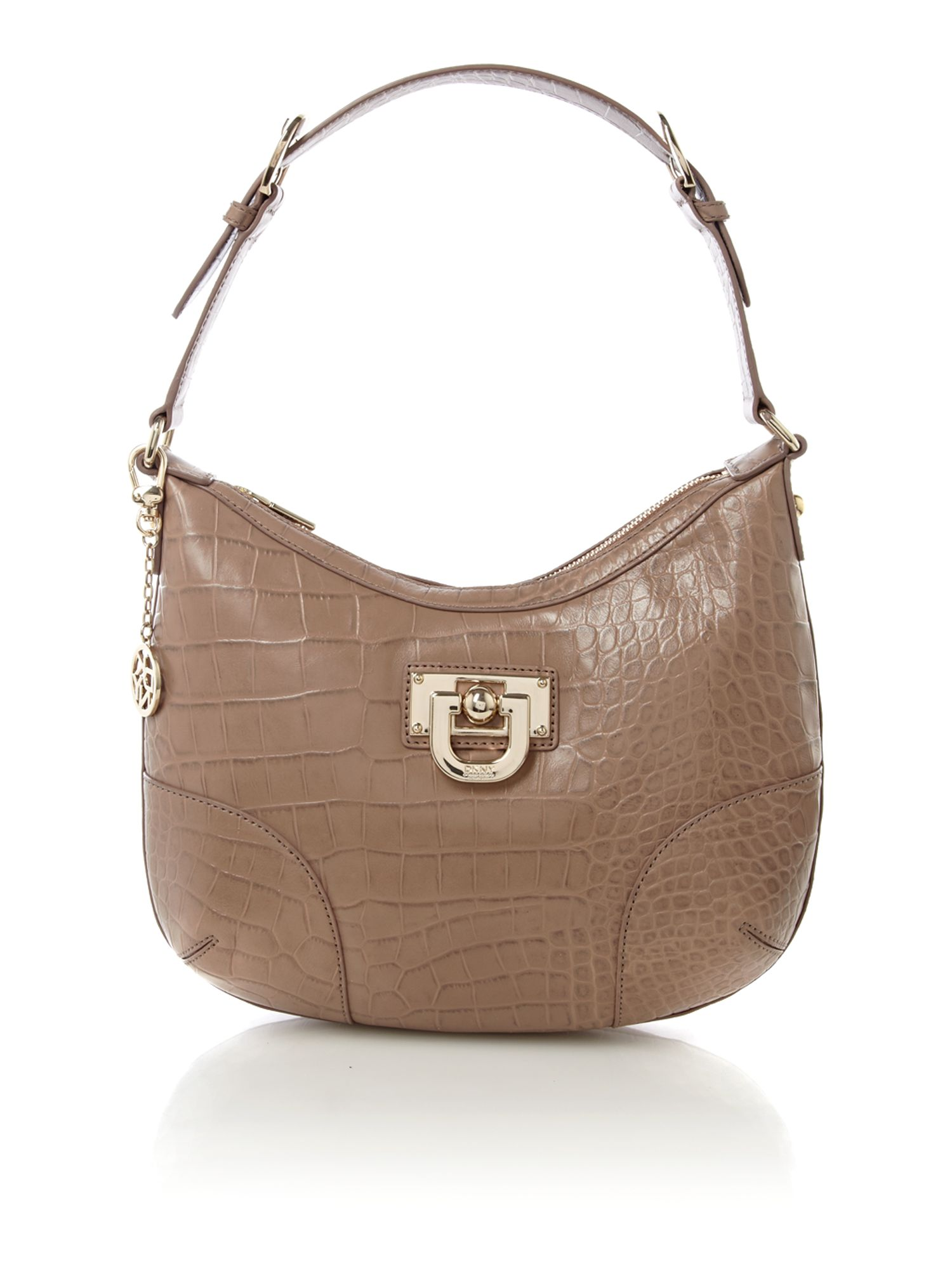 7d45fcb490 Lyst - Dkny Dlock Croco Small Hobo Bag