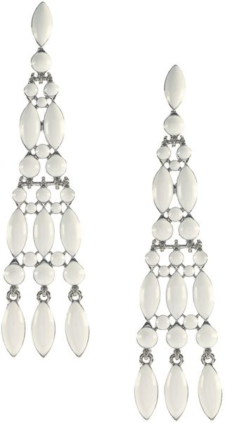 Earring Boutique Graduated White Enamel Tassel Earrings - Lyst