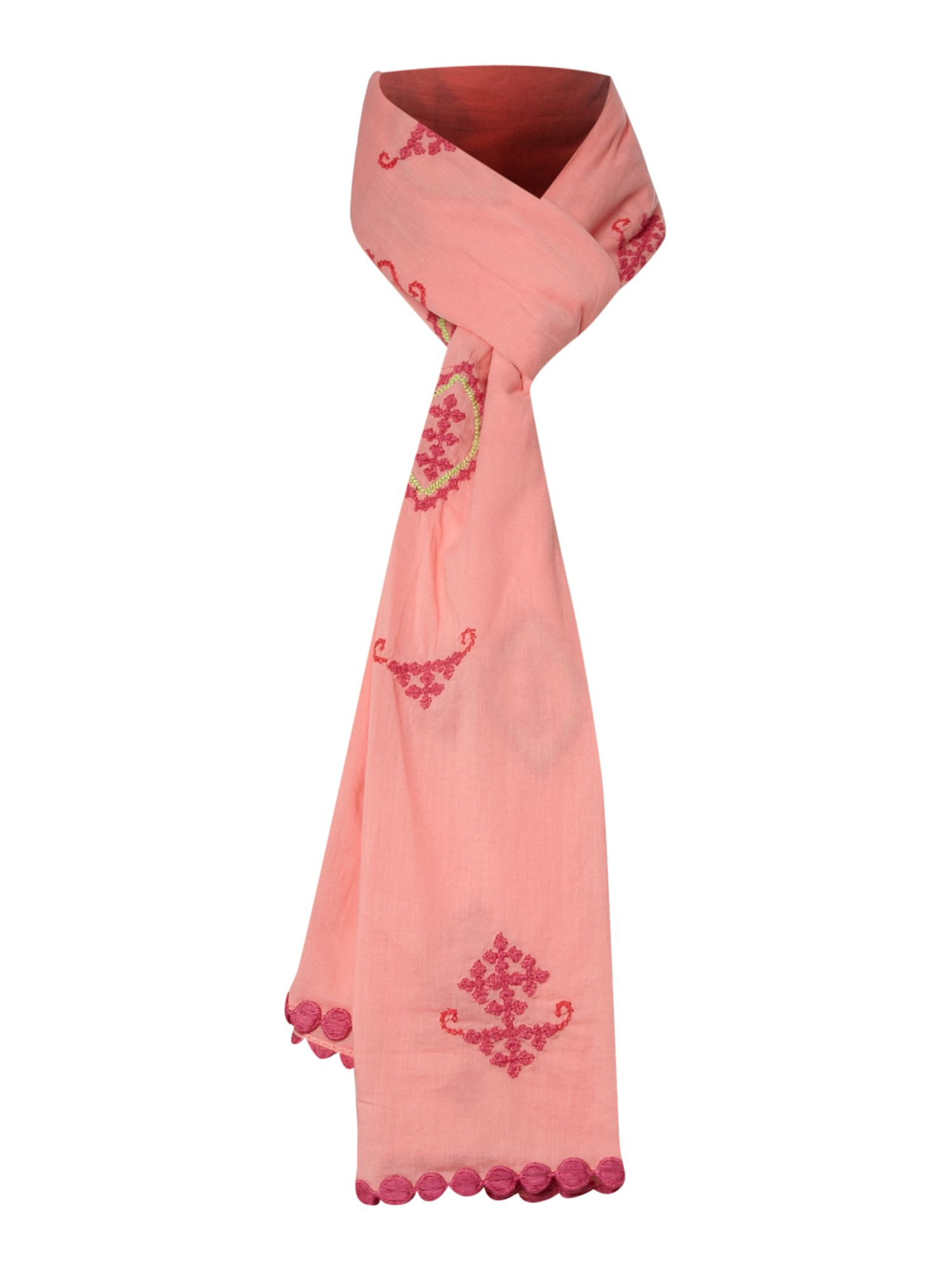 erfurt voile scarf with embroidery in pink lyst