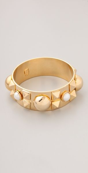 Fallon Jewelry Classique Bangle in Gold - Lyst