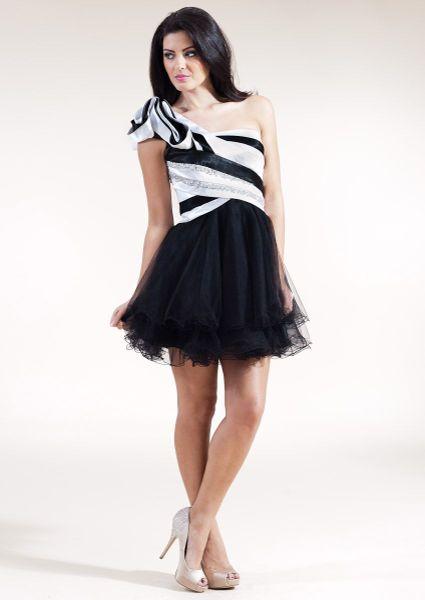 Forever Unique Mono One Shoulder Stripe Prom Dress In