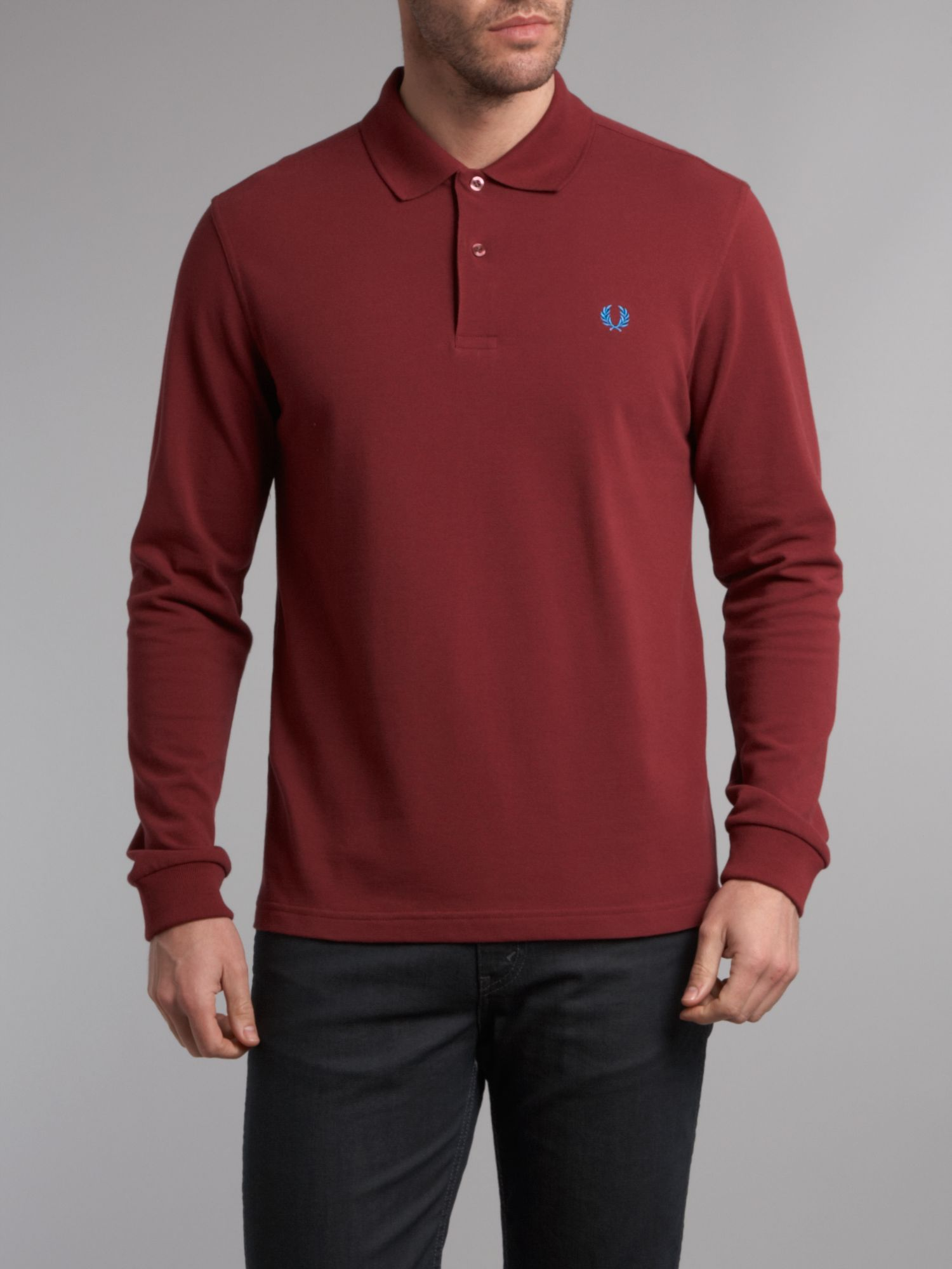 Fred perry slim fit long sleeve polo shirt in red for men for Long sleeve fitted polo shirts