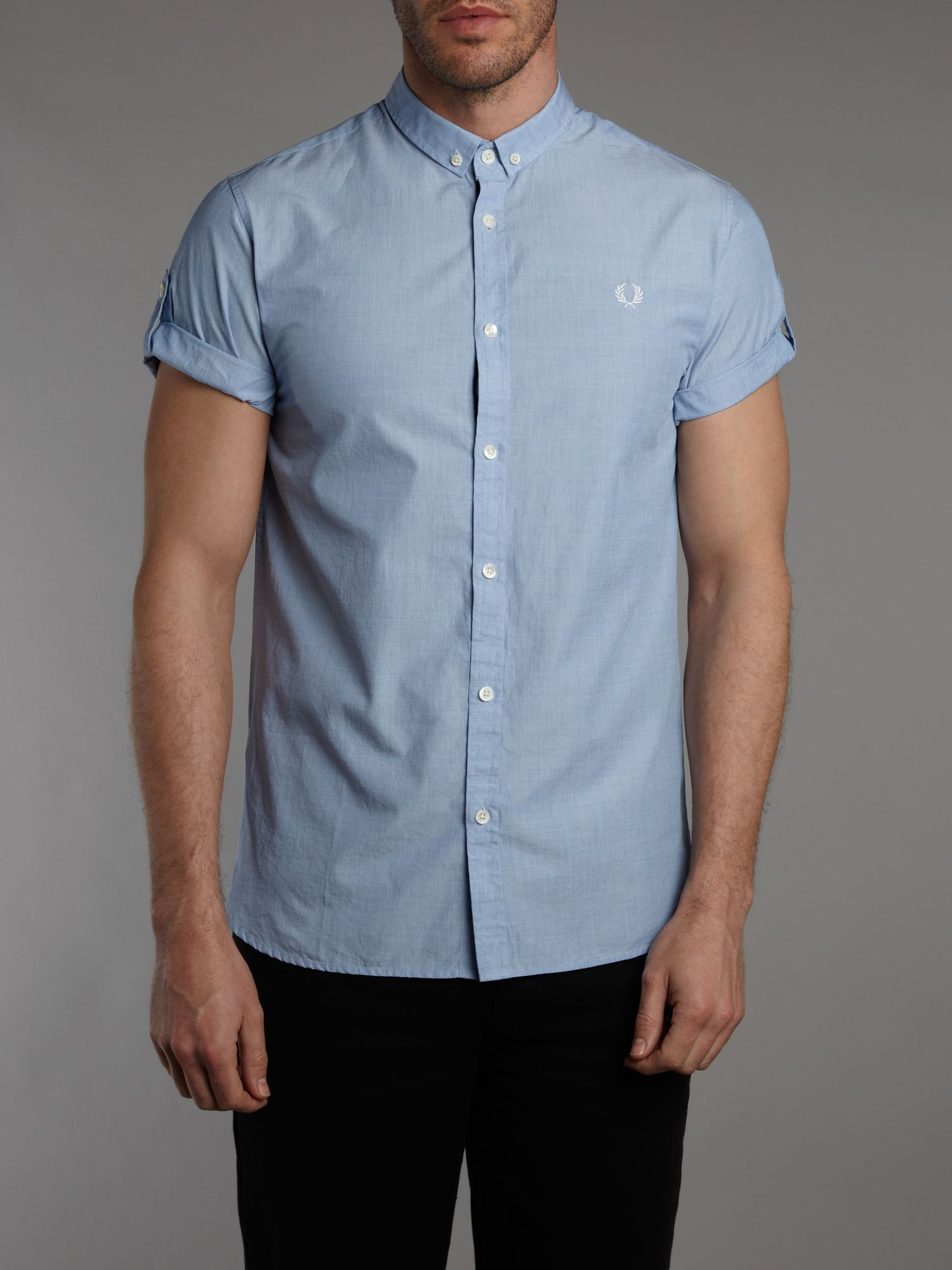 Fred perry short sleeve end on end shirt in blue for men for Fred perry mens shirts sale