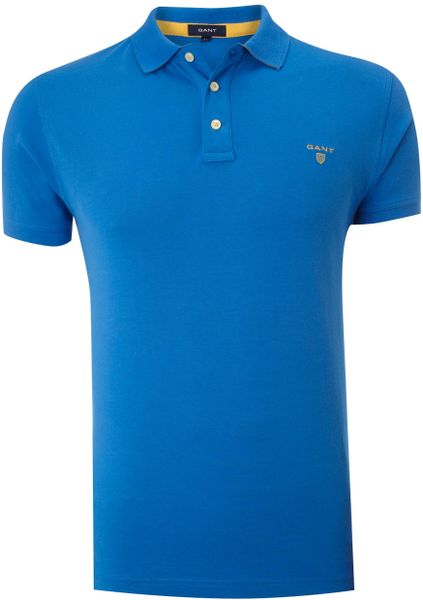 Gant Classic Fitted Contrast Collar Polo Shirt In Blue For