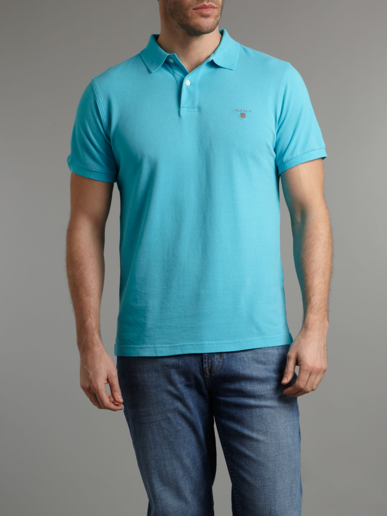 Lyst gant classic fitted polo shirt in blue for men for Mens fitted polo shirts
