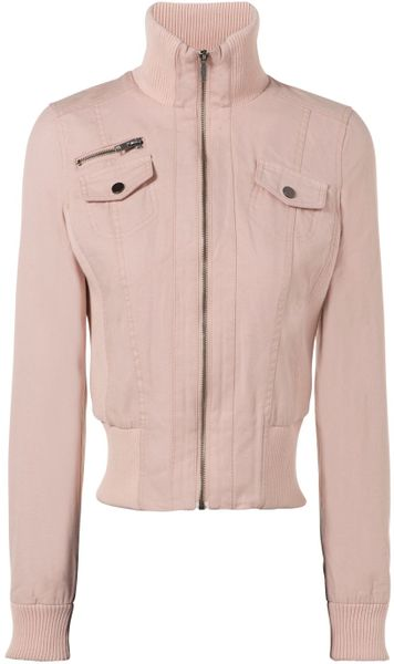 Jane Norman Canvas Mix Bomber in Pink - Lyst