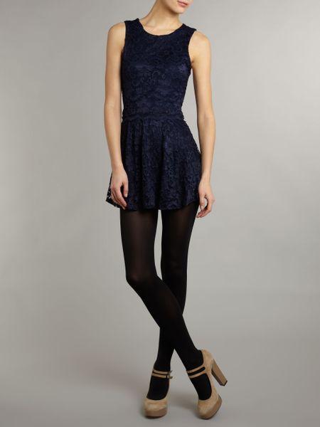 John Zack Tiered Lace Dress In Blue Cobalt Lyst