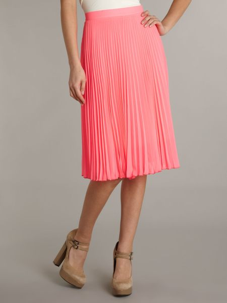 zack pleated midi skirt in pink lyst