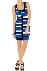 Karen Millen Tonal Neutral Stripe Knit Dress in Blue - Lyst