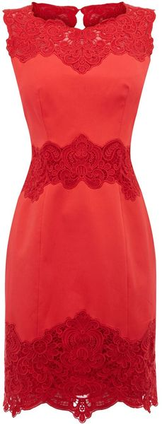 Karen Millen Heavy Cotton Lace Collection Dress - Lyst