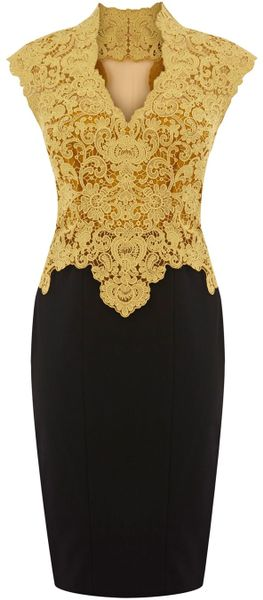 Karen Millen Heavy Cotton Lace Dress in Yellow - Lyst