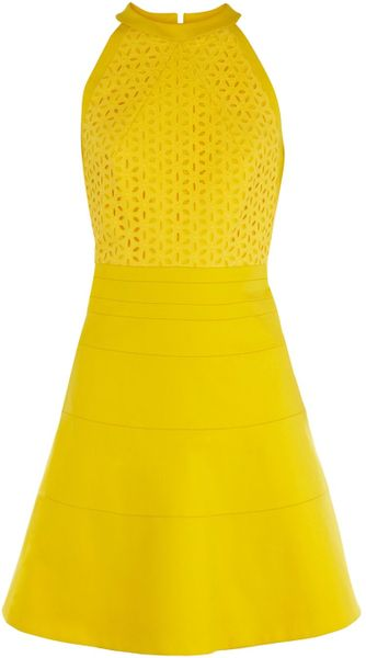 Karen Millen Minimal Cotton Tailored Dress in Yellow - Lyst