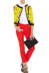 Karen Millen Yellow Floral Biker Knit in Yellow - Lyst