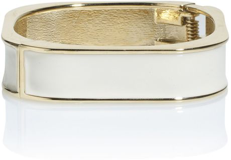 Kate Benjamin Ivory Enamel Square Bracelet in Gold (white)