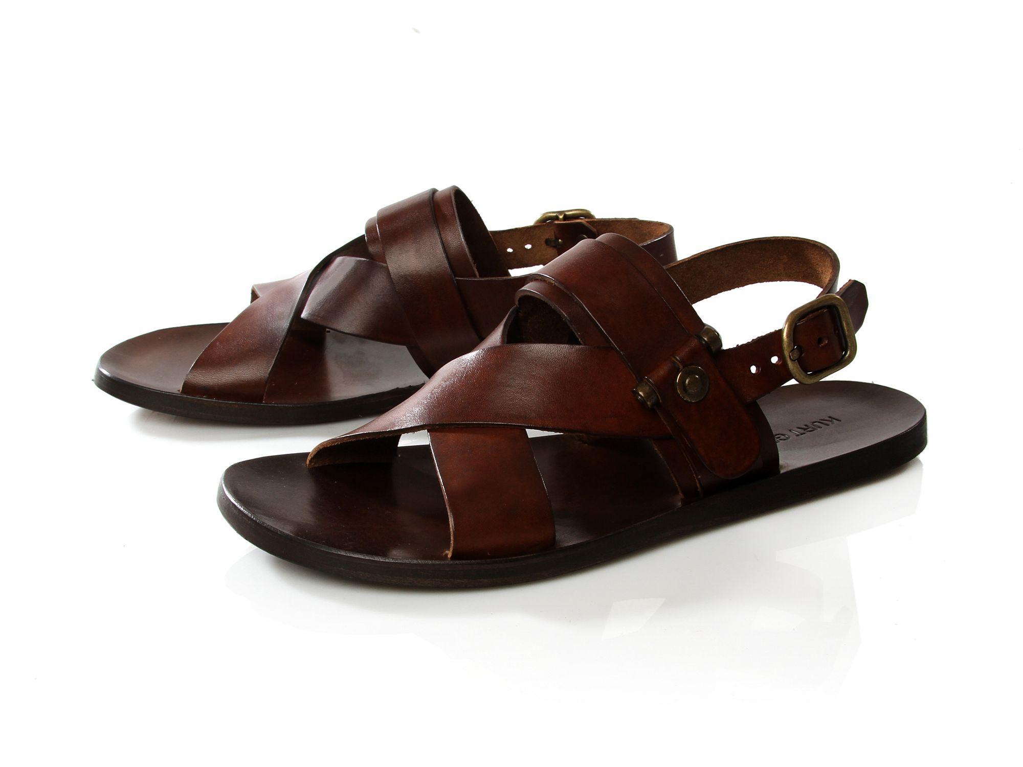 Kurt Geiger Duncan Leather Sandal In Brown For Men