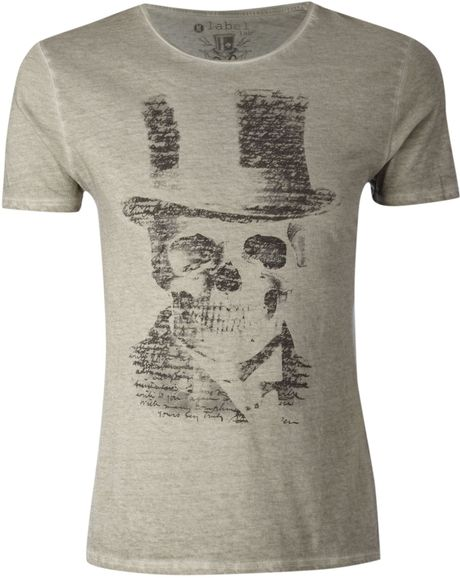 Label Lab Scripted Skull Graphic Tshirt in Gray for Men (off white) - Lyst