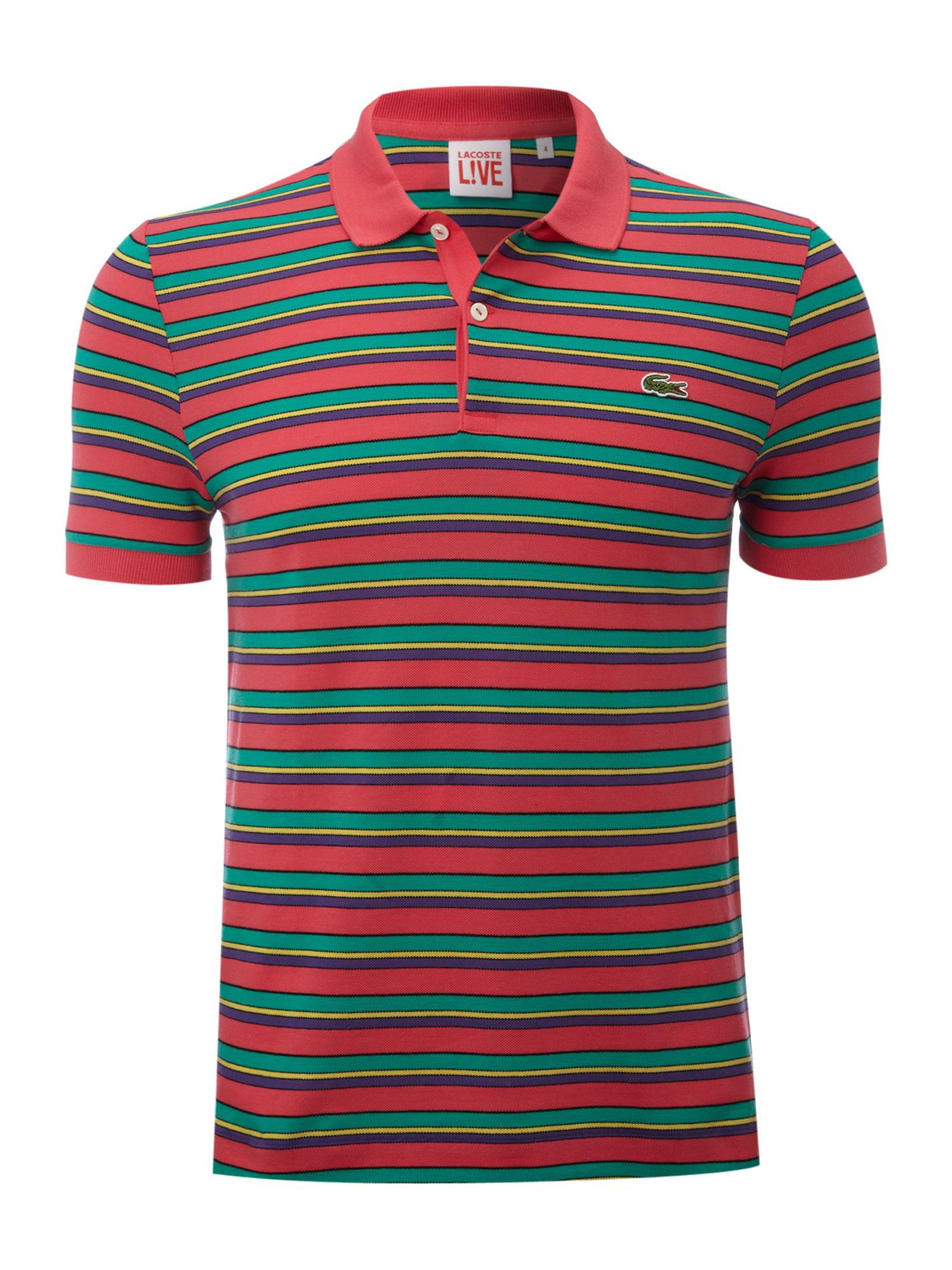 Lacoste Lve Double Stripe Polo Shirt In Pink For Men Lyst
