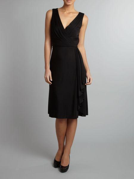 Lauren By Ralph Lauren V Neck Wrap Dress With Belt In
