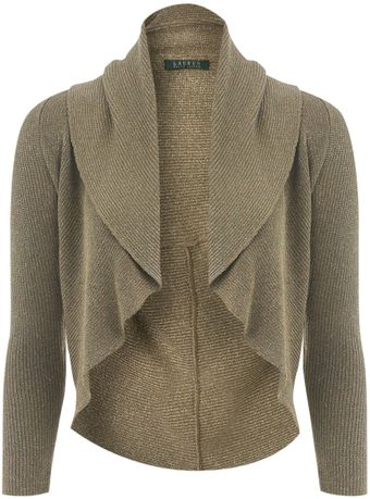 Lauren by Ralph Lauren Silk Mix Cardigan - Lyst